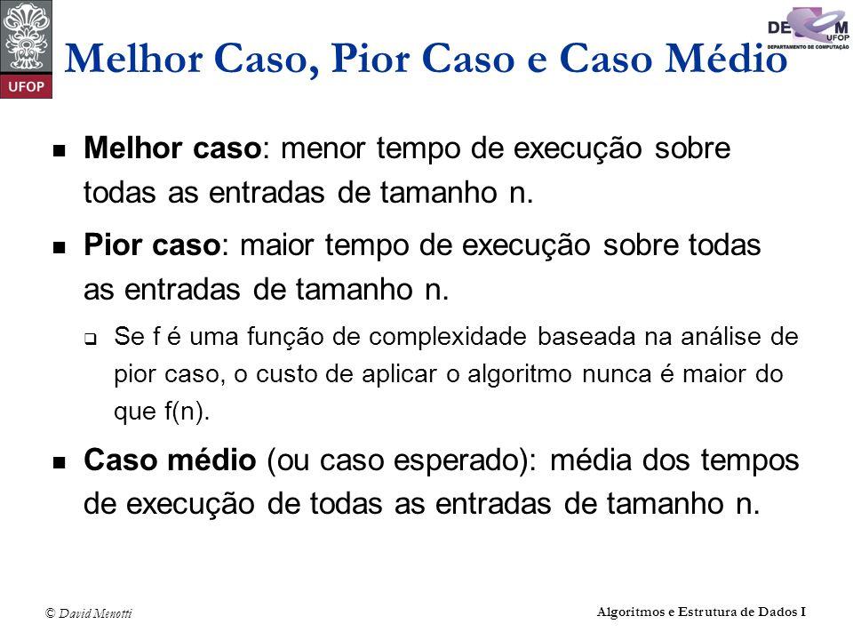 © David Menotti Algoritmos e Estrutura de Dados I Melhor Caso, Pior Caso e Caso Médio Melhor caso: menor tempo de execução sobre todas as entradas de