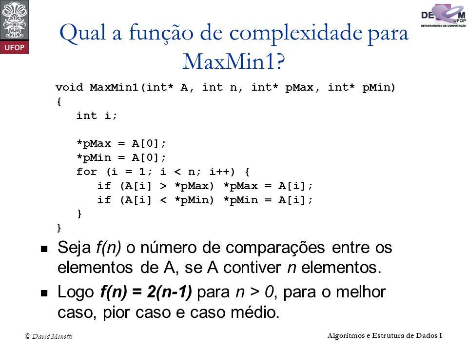 © David Menotti Algoritmos e Estrutura de Dados I Qual a função de complexidade para MaxMin1? Seja f(n) o número de comparações entre os elementos de
