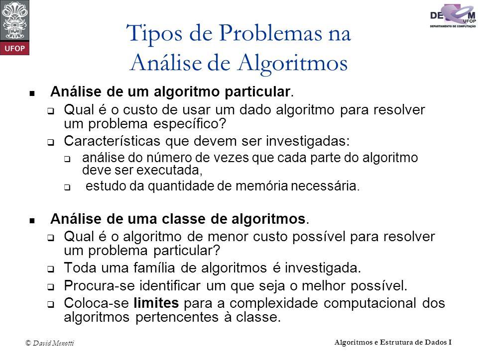 © David Menotti Algoritmos e Estrutura de Dados I Custo de um Algoritmo Determinando o menor custo possível para resolver problemas de uma dada classe, temos a medida da dificuldade inerente para resolver o problema.