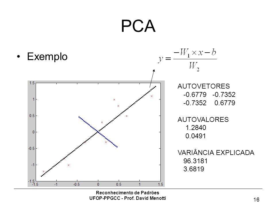 Reconhecimento de Padrões UFOP-PPGCC - Prof. David Menotti 16 PCA Exemplo AUTOVETORES -0.6779 -0.7352 -0.7352 0.6779 AUTOVALORES 1.2840 0.0491 VARIÂNC