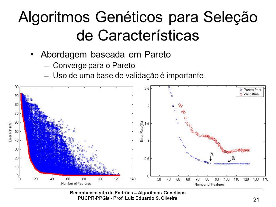 Reconhecimento de Padrões – Algoritmos Genéticos PUCPR-PPGIa - Prof. Luiz Eduardo S. Oliveira 21 Algoritmos Genéticos para Seleção de Características