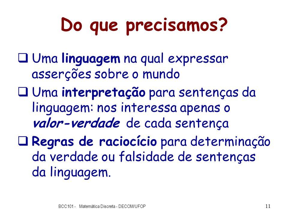 Do que precisamos? Uma linguagem na qual expressar asserções sobre o mundo Uma interpretação para sentenças da linguagem: nos interessa apenas o valor