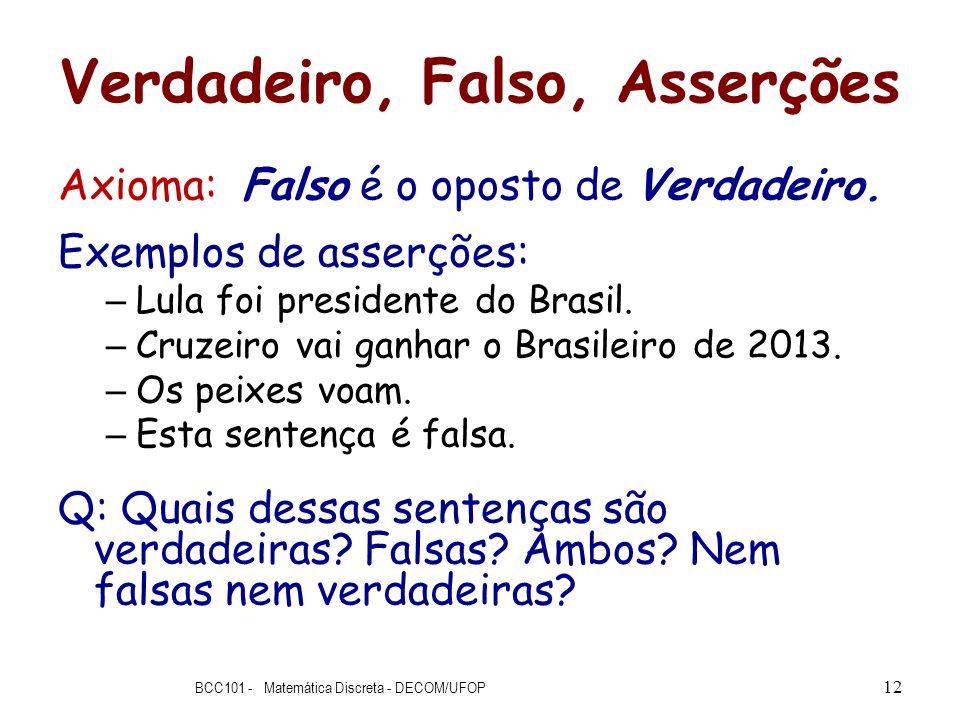 Verdadeiro, Falso, Asserções Axioma: Falso é o oposto de Verdadeiro. Exemplos de asserções: – Lula foi presidente do Brasil. – Cruzeiro vai ganhar o B