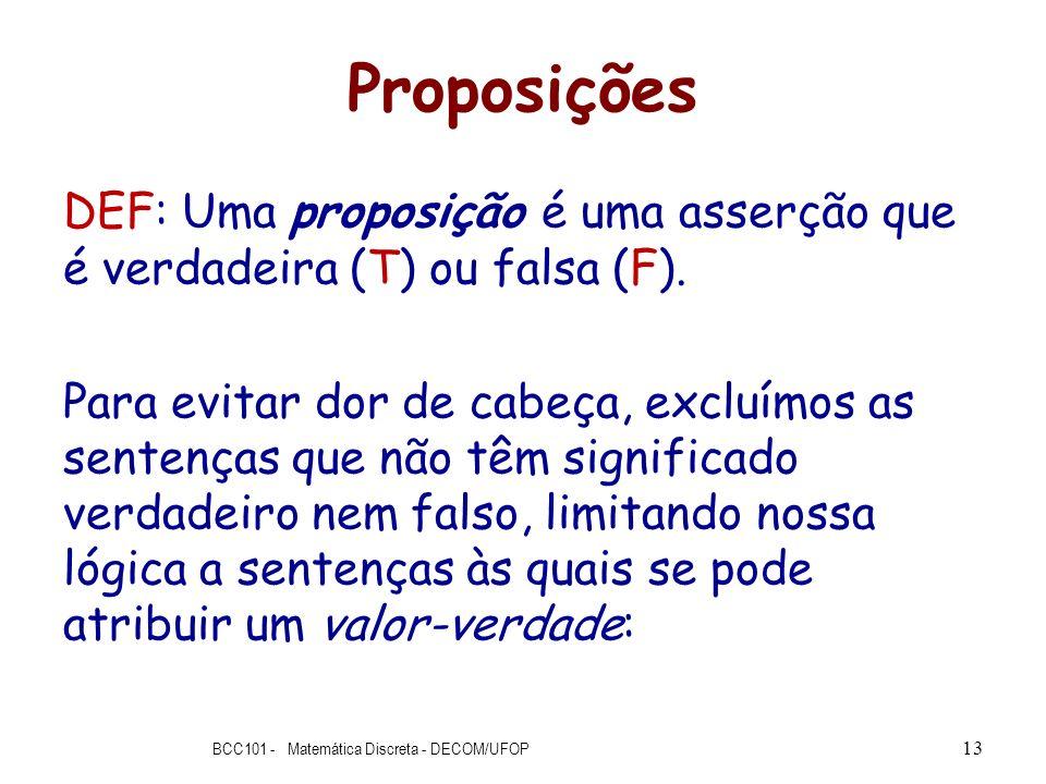 Proposições DEF: Uma proposição é uma asserção que é verdadeira (T) ou falsa (F). Para evitar dor de cabeça, excluímos as sentenças que não têm signif