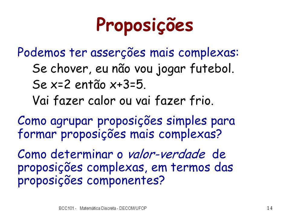 Proposições Podemos ter asserções mais complexas: Se chover, eu não vou jogar futebol. Se x=2 então x+3=5. Vai fazer calor ou vai fazer frio. Como agr