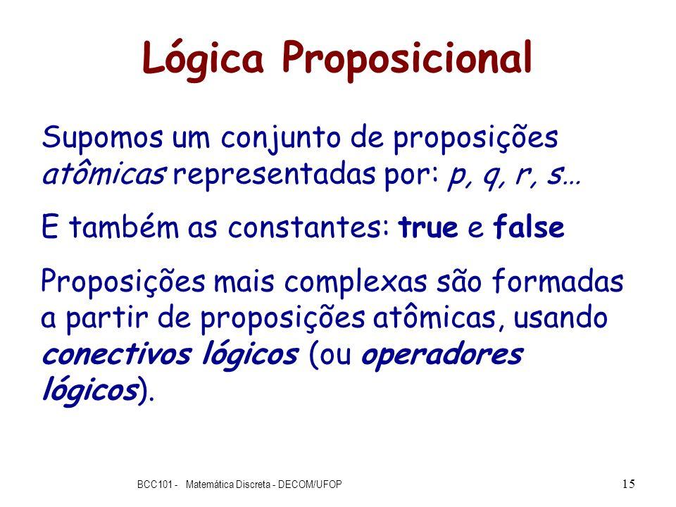 Lógica Proposicional Supomos um conjunto de proposições atômicas representadas por: p, q, r, s… E também as constantes: true e false Proposições mais