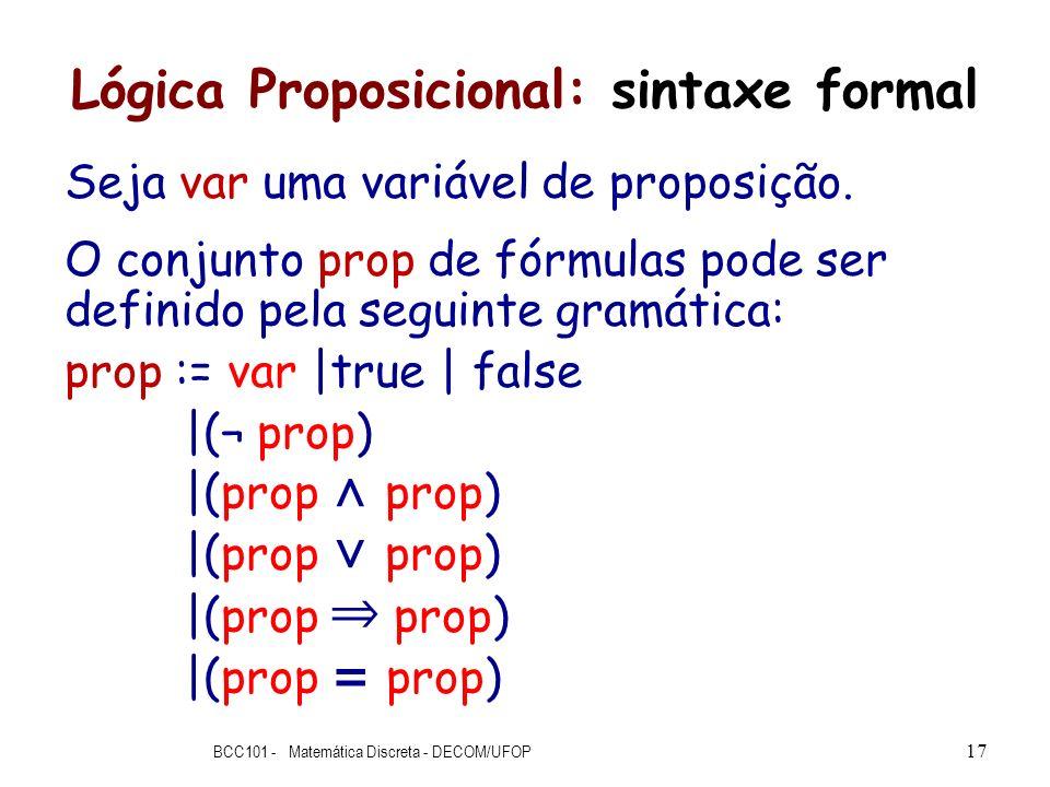 Lógica Proposicional: sintaxe formal Seja var uma variável de proposição. O conjunto prop de fórmulas pode ser definido pela seguinte gramática: prop