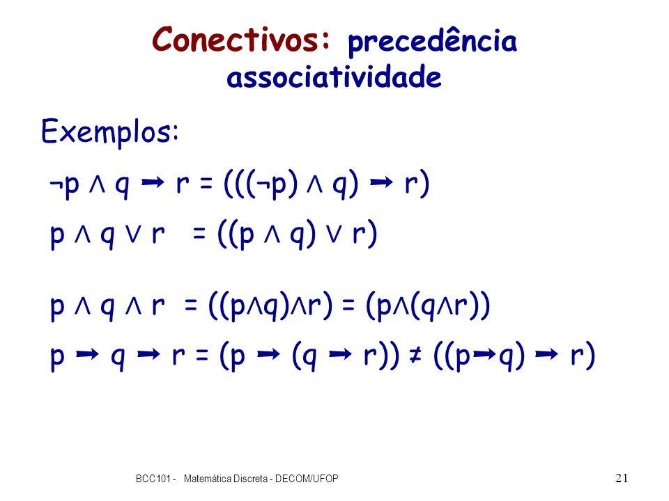 Conectivos: precedência associatividade Exemplos: ¬p q r = (((¬p) q) r) p q r = ((p q) r) p q r = ((p q) r) = (p (q r)) p q r = (p (q r)) ((p q) r) BC