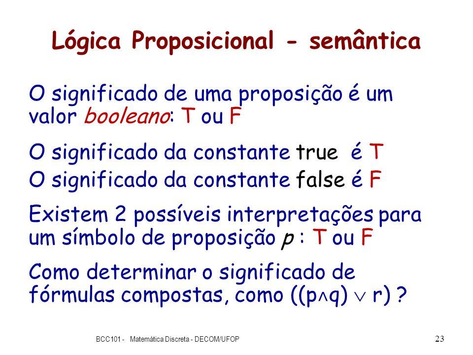 Lógica Proposicional - semântica O significado de uma proposição é um valor booleano: T ou F O significado da constante true é T O significado da cons