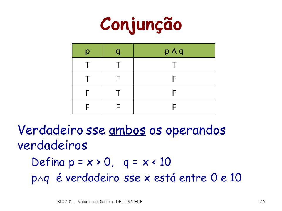 Conjunção Verdadeiro sse ambos os operandos verdadeiros Defina p = x > 0, q = x < 10 p q é verdadeiro sse x está entre 0 e 10 BCC101 - Matemática Disc