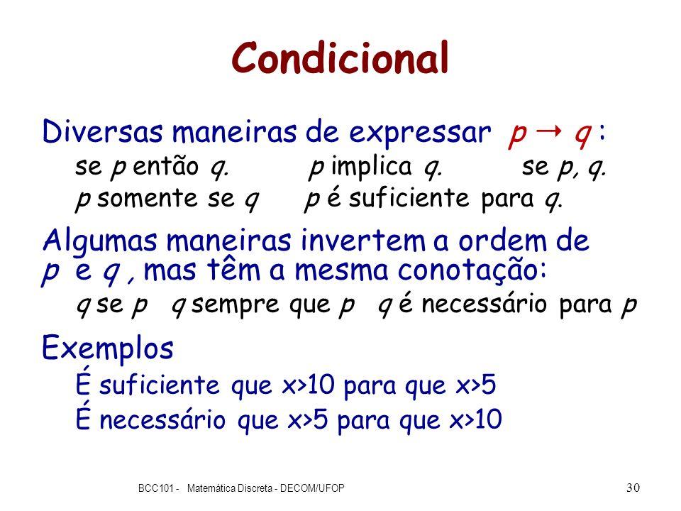 Condicional Diversas maneiras de expressar p q : se p então q. p implica q. se p, q. p somente se q p é suficiente para q. Algumas maneiras invertem a