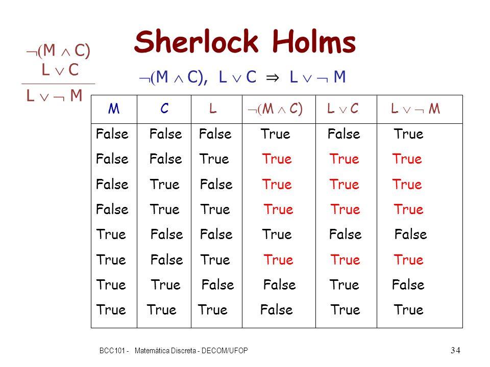 Sherlock Holms BCC101 - Matemática Discreta - DECOM/UFOP 34 M C L M C) L C L M False False False True False True False False True True True True False