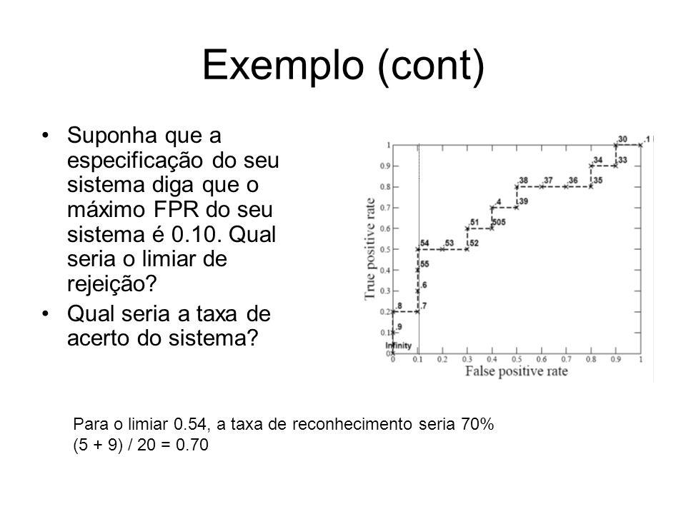 Exemplo (cont) Suponha que a especificação do seu sistema diga que o máximo FPR do seu sistema é 0.10. Qual seria o limiar de rejeição? Qual seria a t