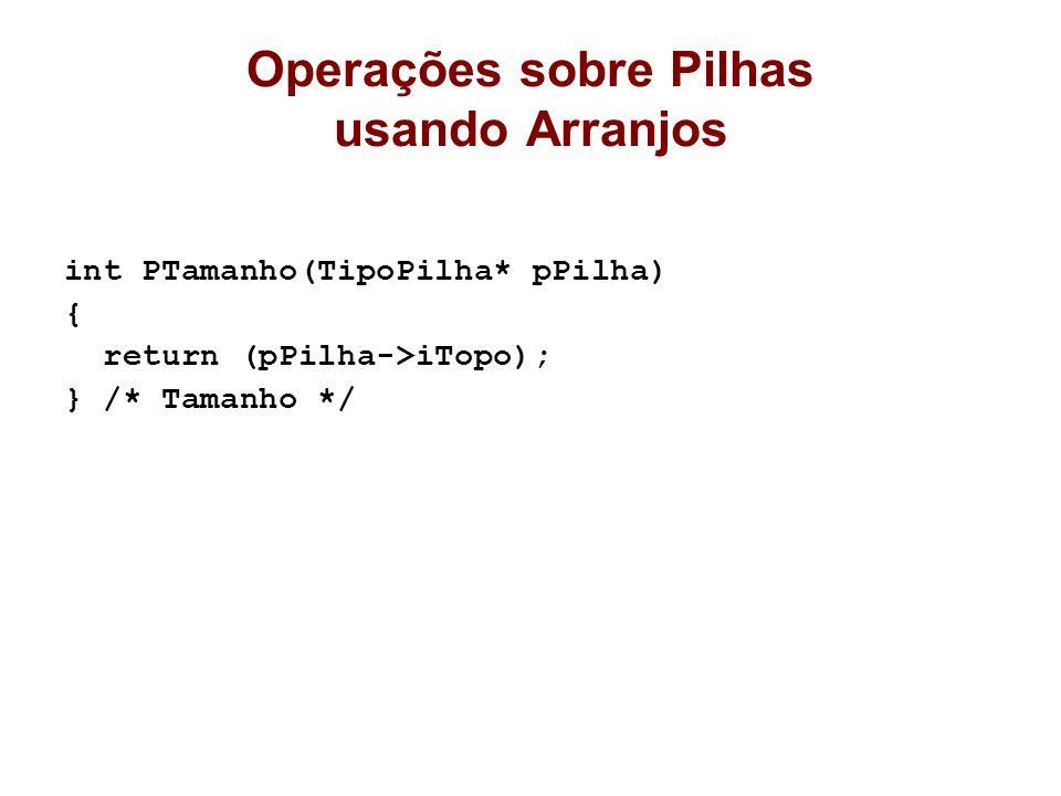 Operações sobre Pilhas usando Arranjos int PTamanho(TipoPilha* pPilha) { return (pPilha->iTopo); } /* Tamanho */