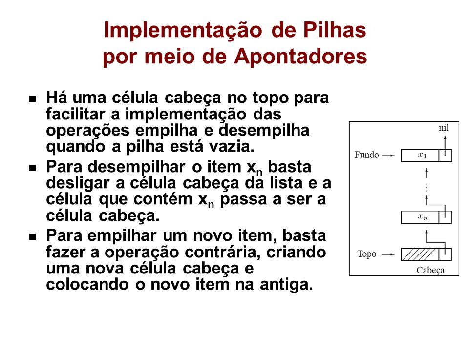 Implementação de Pilhas por meio de Apontadores Há uma célula cabeça no topo para facilitar a implementação das operações empilha e desempilha quando