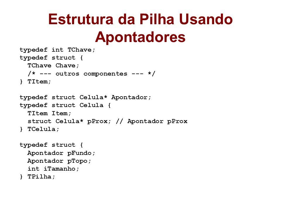 Estrutura da Pilha Usando Apontadores typedef int TChave; typedef struct { TChave Chave; /* --- outros componentes --- */ } TItem; typedef struct Celu
