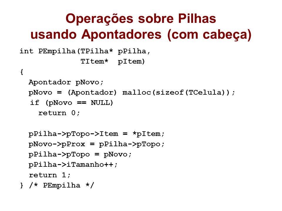 Operações sobre Pilhas usando Apontadores (com cabeça) int PEmpilha(TPilha* pPilha, TItem* pItem) { Apontador pNovo; pNovo = (Apontador) malloc(sizeof