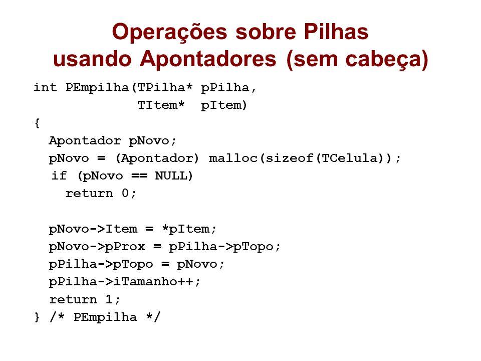 Operações sobre Pilhas usando Apontadores (sem cabeça) int PEmpilha(TPilha* pPilha, TItem* pItem) { Apontador pNovo; pNovo = (Apontador) malloc(sizeof
