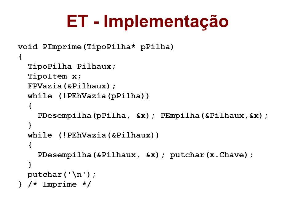 ET - Implementação void PImprime(TipoPilha* pPilha) { TipoPilha Pilhaux; TipoItem x; FPVazia(&Pilhaux); while (!PEhVazia(pPilha)) { PDesempilha(pPilha