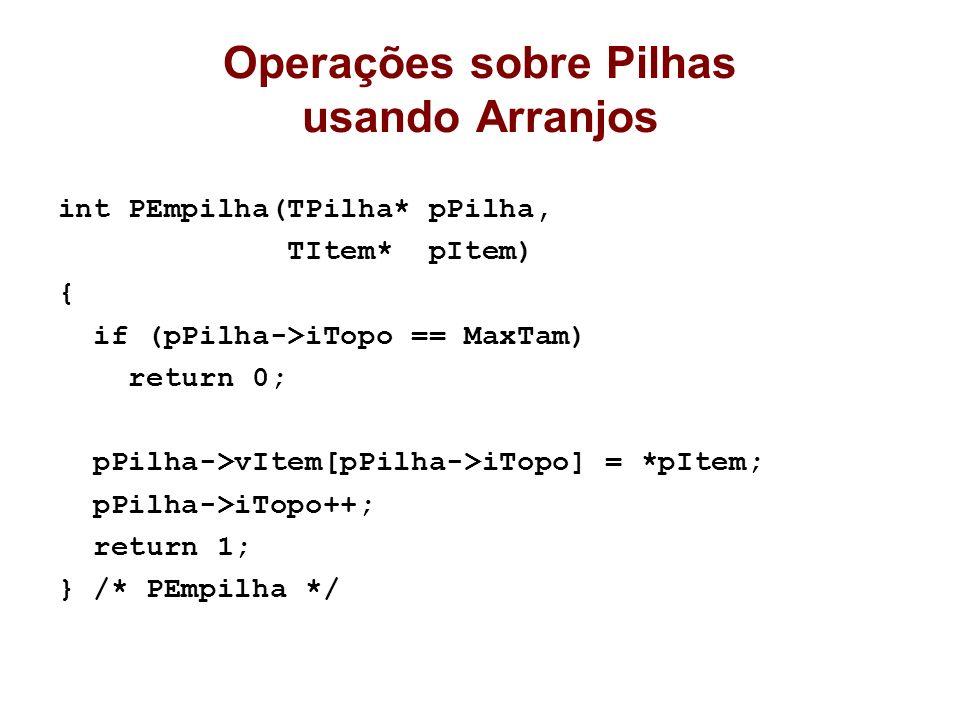 Operações sobre Pilhas usando Arranjos int PEmpilha(TPilha* pPilha, TItem* pItem) { if (pPilha->iTopo == MaxTam) return 0; pPilha->vItem[pPilha->iTopo