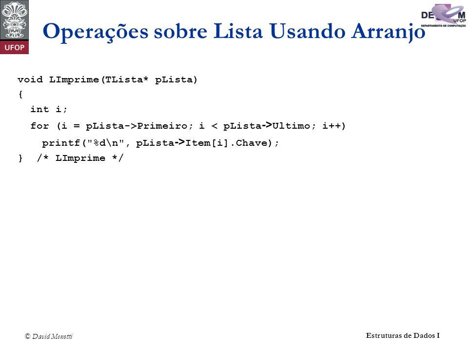 © David Menotti Estruturas de Dados I void LImprime(TLista* pLista) { int i; for (i = pLista->Primeiro; i Ultimo; i++) printf(