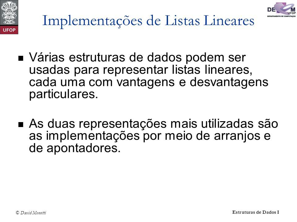 © David Menotti Estruturas de Dados I Implementações de Listas Lineares Várias estruturas de dados podem ser usadas para representar listas lineares,