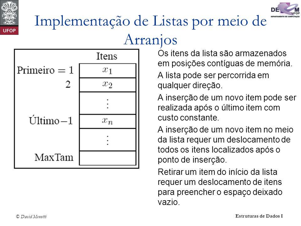 © David Menotti Estruturas de Dados I Implementação de Listas por meio de Arranjos Os itens da lista são armazenados em posições contíguas de memória.