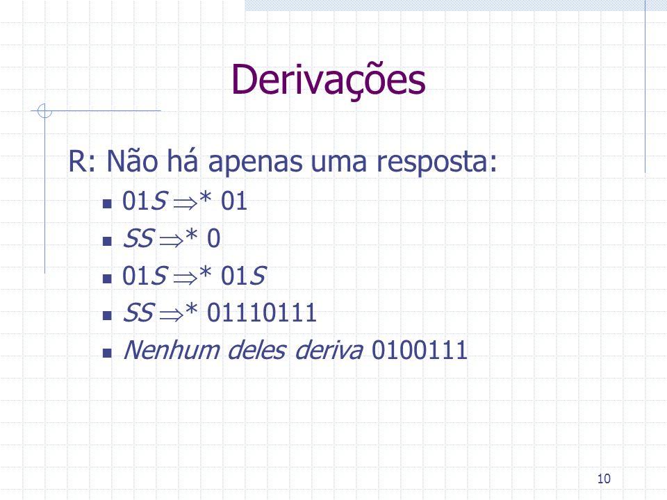 10 Derivações R: Não há apenas uma resposta: 01S * 01 SS * 0 01S * 01S SS * 01110111 Nenhum deles deriva 0100111
