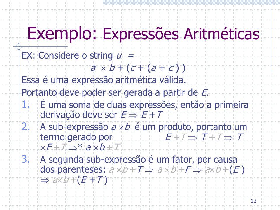 13 Exemplo: Expressões Aritméticas EX: Considere o string u = a b + (c + (a + c ) ) Essa é uma expressão aritmética válida. Portanto deve poder ser ge