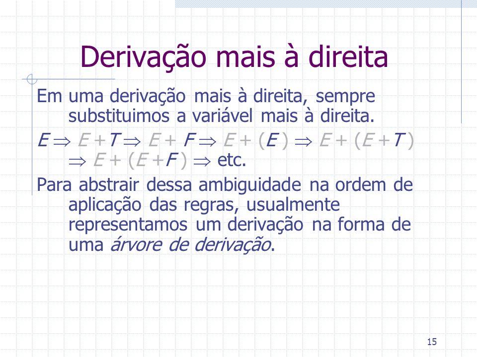 15 Derivação mais à direita Em uma derivação mais à direita, sempre substituimos a variável mais à direita. E E +T E + F E + (E ) E + (E +T ) E + (E +