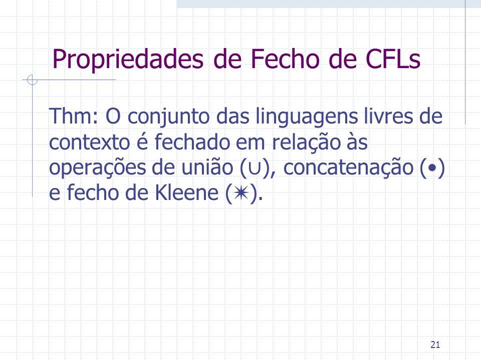 Propriedades de Fecho de CFLs Thm: O conjunto das linguagens livres de contexto é fechado em relação às operações de união ( ), concatenação () e fech
