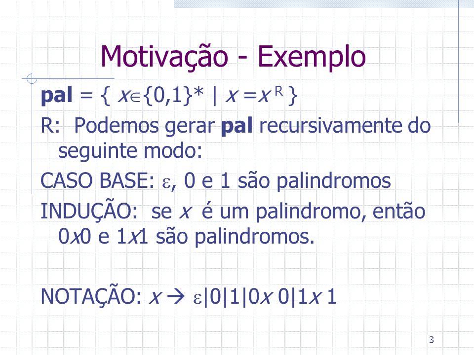 3 Motivação - Exemplo pal = { x {0,1}*   x =x R } R: Podemos gerar pal recursivamente do seguinte modo: CASO BASE:, 0 e 1 são palindromos INDUÇÃO: se