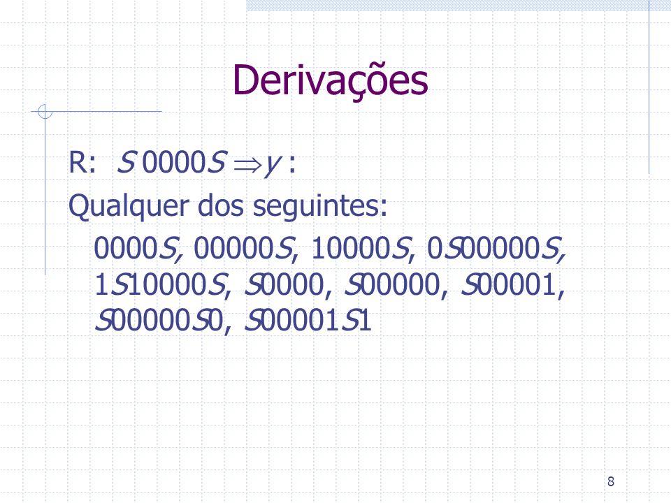 8 Derivações R: S 0000S y : Qualquer dos seguintes: 0000S, 00000S, 10000S, 0S00000S, 1S10000S, S0000, S00000, S00001, S00000S0, S00001S1