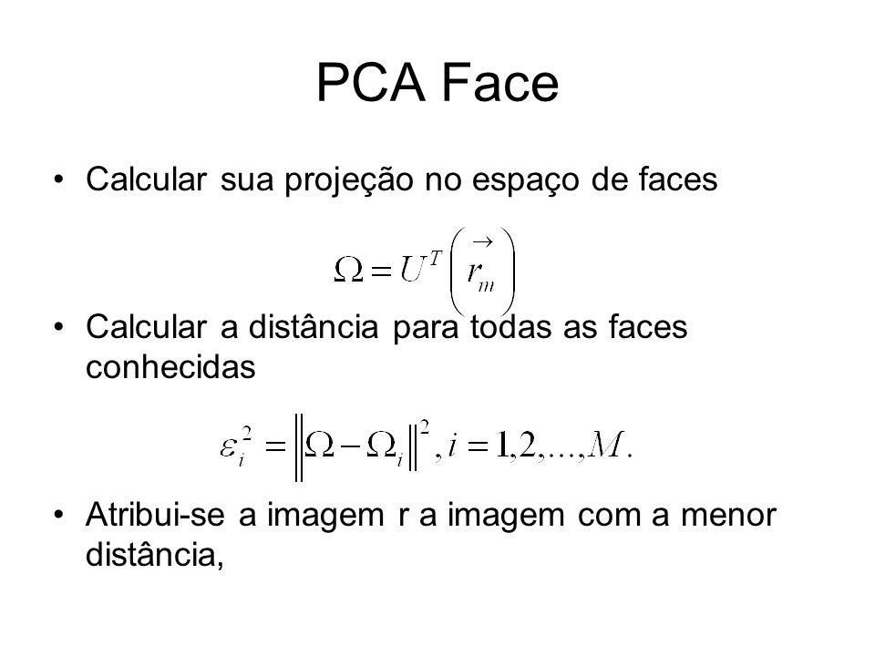 PCA Face Calcular sua projeção no espaço de faces Calcular a distância para todas as faces conhecidas Atribui-se a imagem r a imagem com a menor distâ