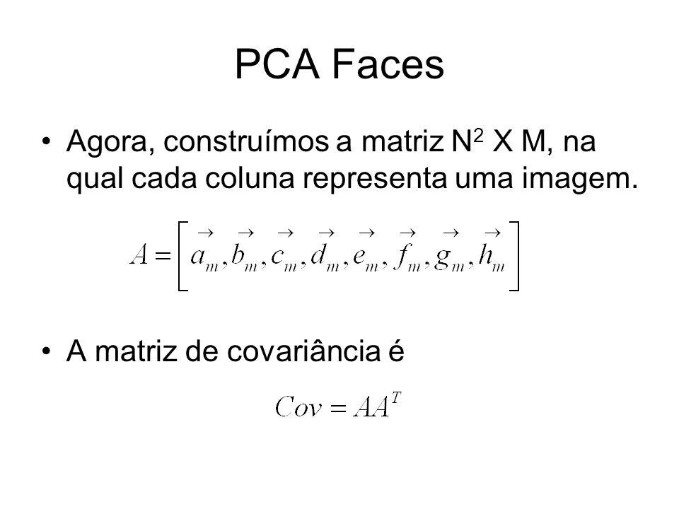 PCA Faces Agora, construímos a matriz N 2 X M, na qual cada coluna representa uma imagem. A matriz de covariância é