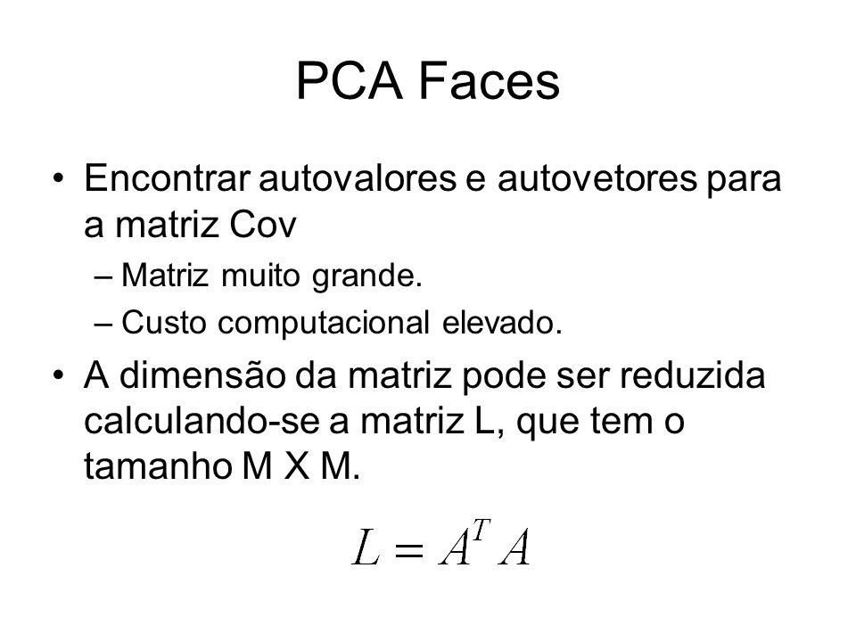 PCA Faces Encontrar autovalores e autovetores para a matriz Cov –Matriz muito grande. –Custo computacional elevado. A dimensão da matriz pode ser redu