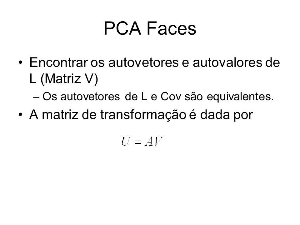 PCA Faces Encontrar os autovetores e autovalores de L (Matriz V) –Os autovetores de L e Cov são equivalentes. A matriz de transformação é dada por