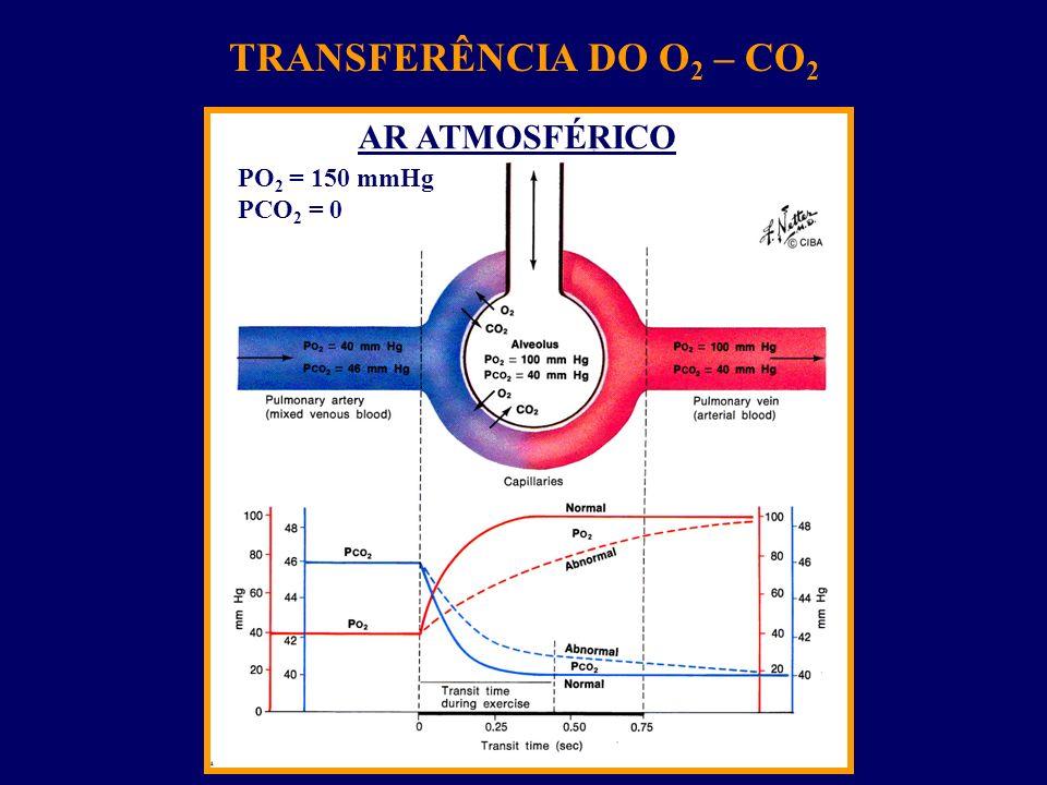 TRANSFERÊNCIA DO O 2 – CO 2 AR ATMOSFÉRICO PO 2 = 150 mmHg PCO 2 = 0