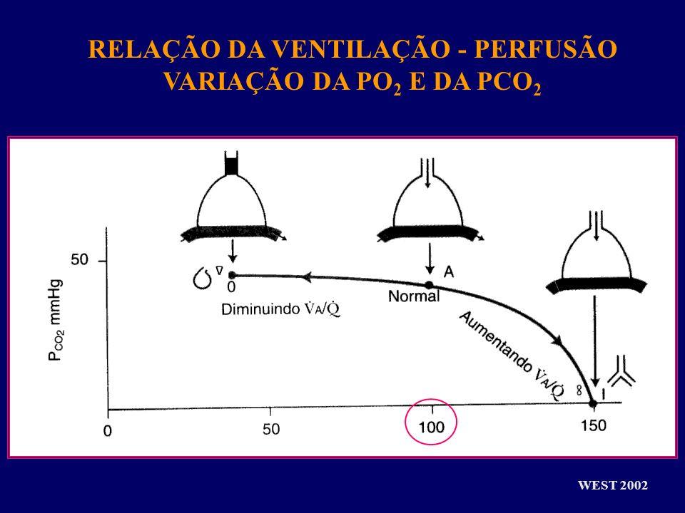 RELAÇÃO DA VENTILAÇÃO - PERFUSÃO VARIAÇÃO DA PO 2 E DA PCO 2 WEST 2002