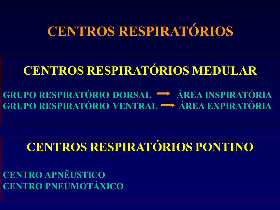 CENTROS RESPIRATÓRIOS CENTROS RESPIRATÓRIOS MEDULAR GRUPO RESPIRATÓRIO DORSAL ÁREA INSPIRATÓRIA GRUPO RESPIRATÓRIO VENTRAL ÁREA EXPIRATÓRIA CENTROS RE
