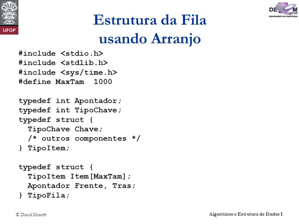 © David Menotti Algoritmos e Estrutura de Dados I Estrutura da Fila usando Arranjo #include #define MaxTam 1000 typedef int Apontador; typedef int Tip