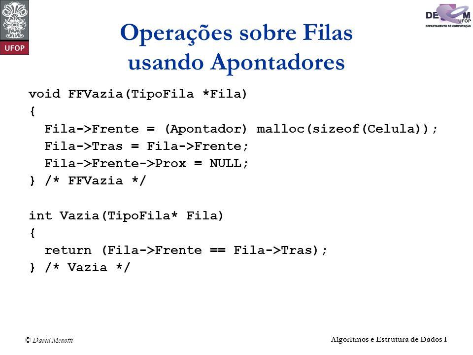 © David Menotti Algoritmos e Estrutura de Dados I Operações sobre Filas usando Apontadores void FFVazia(TipoFila *Fila) { Fila->Frente = (Apontador) m