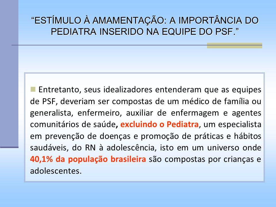 O ESTÍMULO à AMAMENTAÇÃO: A IMPORTÂNCIA do PEDIATRA.