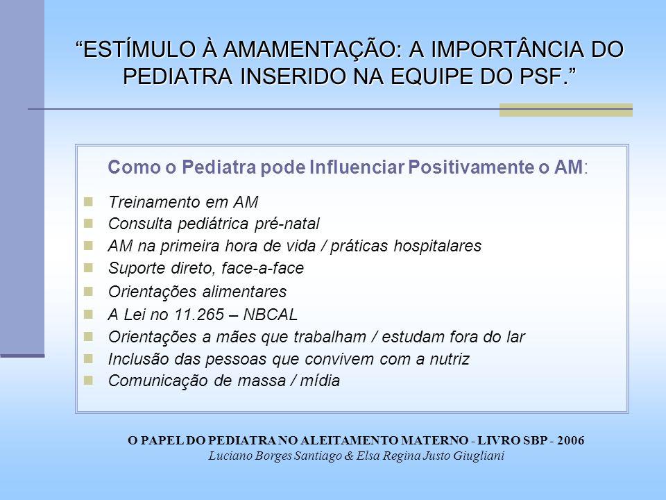 ESTÍMULO À AMAMENTAÇÃO: A IMPORTÂNCIA DO PEDIATRA INSERIDO NA EQUIPE DO PSF. Como o Pediatra pode Influenciar Positivamente o AM: Treinamento em AM Co