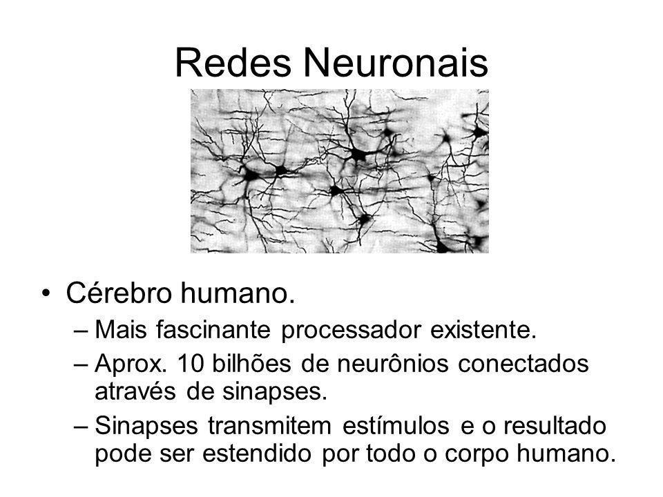 Redes Neuronais Cérebro humano. –Mais fascinante processador existente. –Aprox. 10 bilhões de neurônios conectados através de sinapses. –Sinapses tran