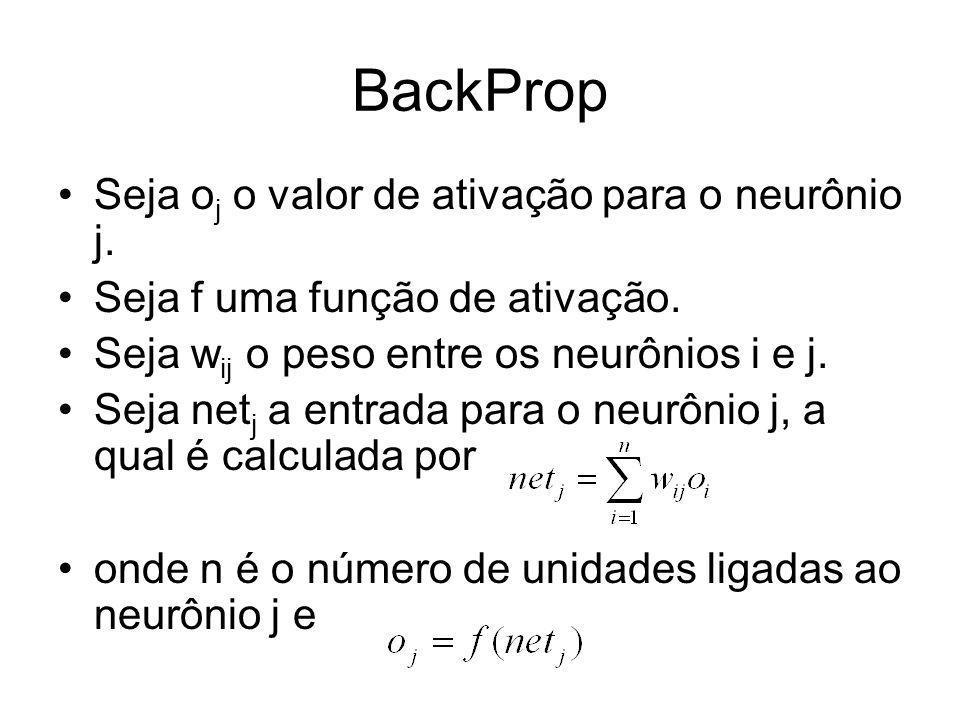 BackProp Seja o j o valor de ativação para o neurônio j. Seja f uma função de ativação. Seja w ij o peso entre os neurônios i e j. Seja net j a entrad