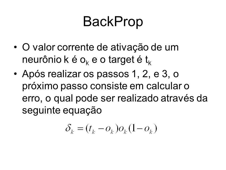 BackProp O valor corrente de ativação de um neurônio k é o k e o target é t k Após realizar os passos 1, 2, e 3, o próximo passo consiste em calcular