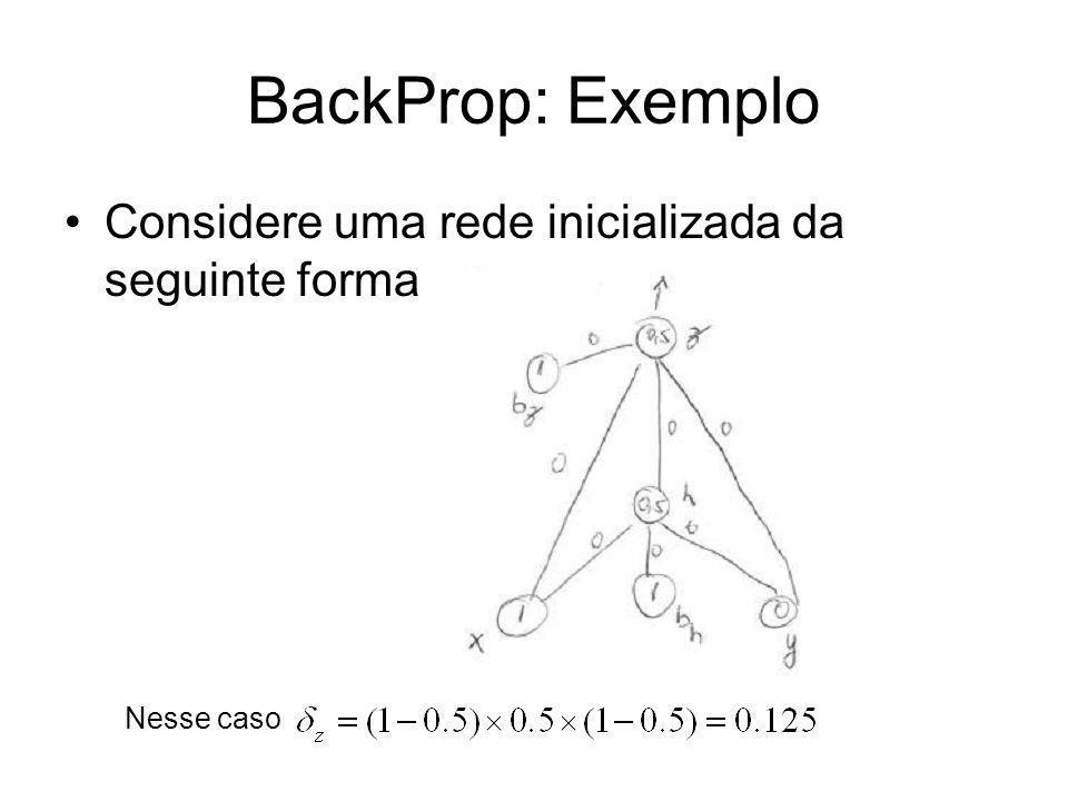 BackProp: Exemplo Considere uma rede inicializada da seguinte forma Nesse caso