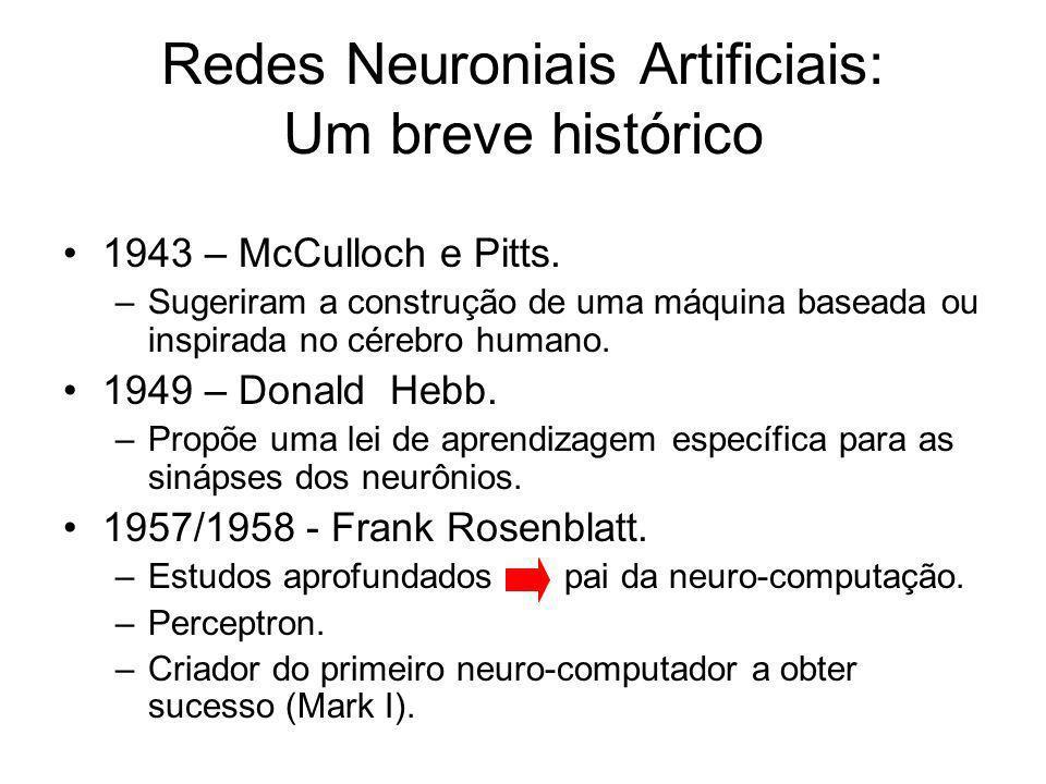 Redes Neuroniais Artificiais: Um breve histórico 1943 – McCulloch e Pitts. –Sugeriram a construção de uma máquina baseada ou inspirada no cérebro huma