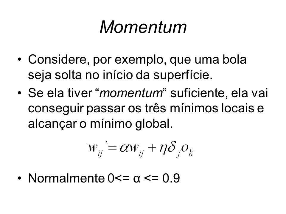 Momentum Considere, por exemplo, que uma bola seja solta no início da superfície. Se ela tiver momentum suficiente, ela vai conseguir passar os três m